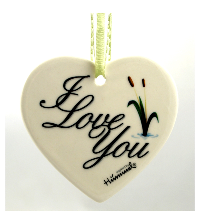 610002 - Cattails, I Love You Heart Ornament