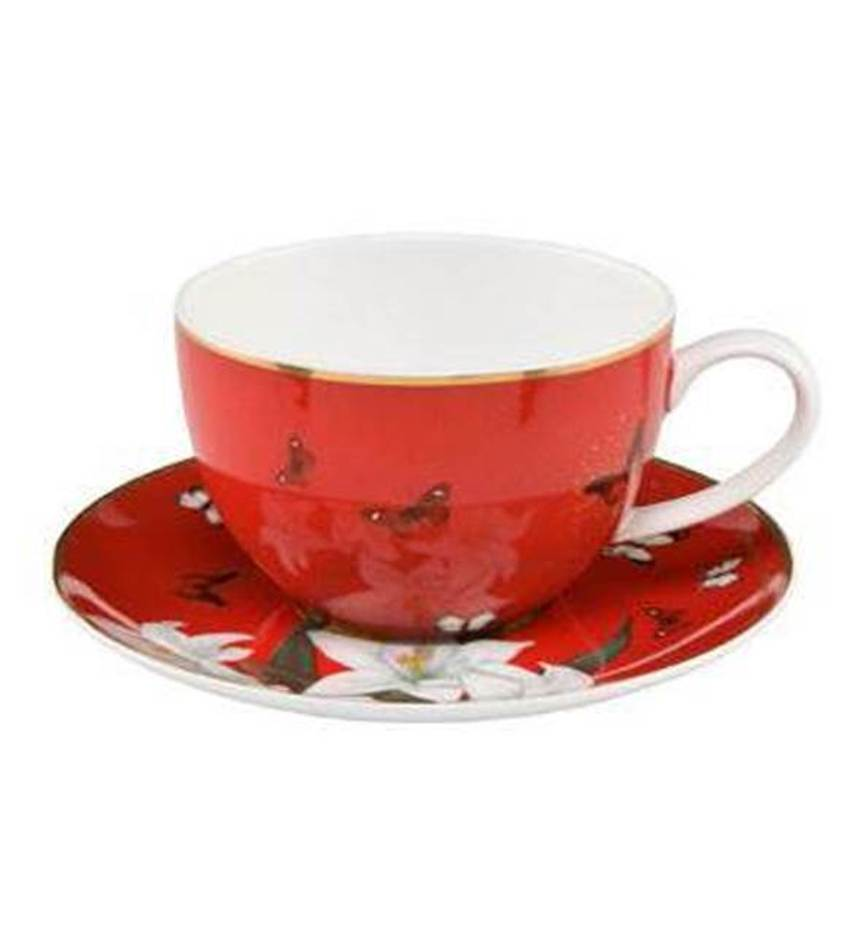 G26150211 - Lilies Red teacup & saucer