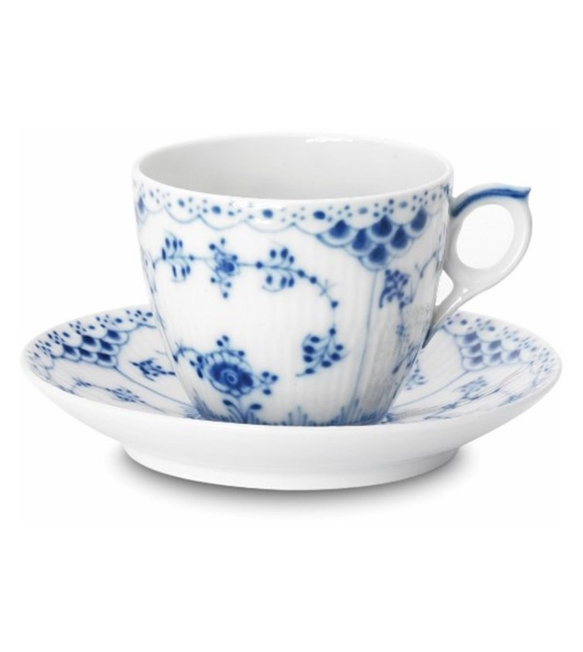 RC1102071 - Blue Fluted Half Lace Coffee Cup & Saucer