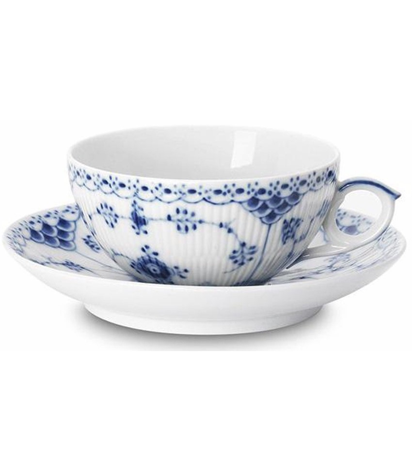 RC1102080 - Blue Fluted Half Lace Tea Cup & Saucer