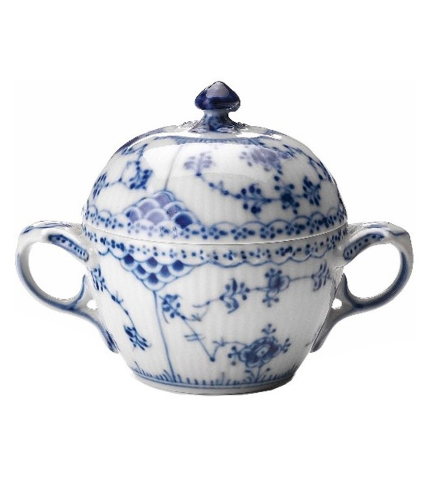 RC1102159 - Blue Fluted Half Lace Sugar Bowl