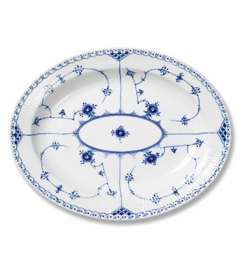 RC1102375 - Blue Fluted Half Lace Large Oval Platter