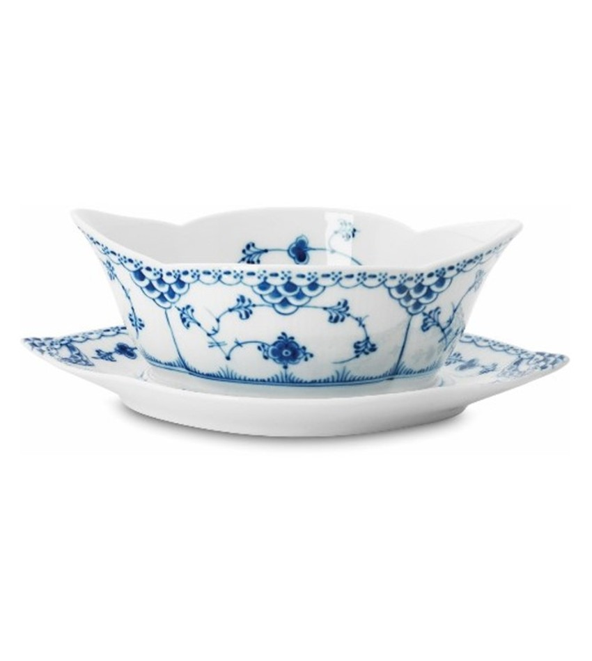 RC1102563 - Blue Fluted Half Lace Sauce Boat