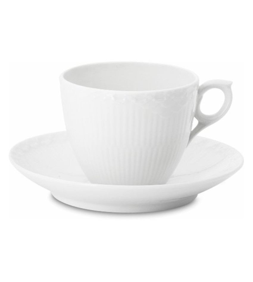 RC1128071 - White Half Lace Coffee Cup & Saucer