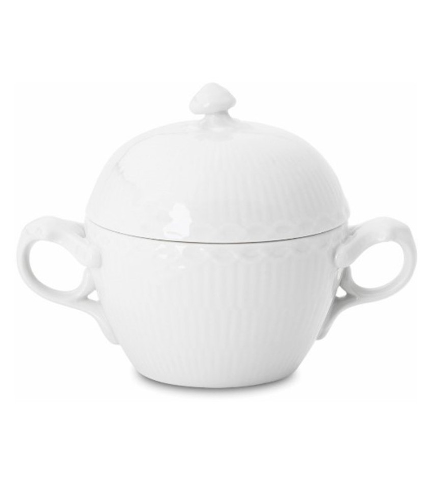 RC1128159 - White Half Lace Covered Sugar Bowl
